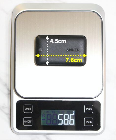 Anker30Wslimを計量器に置いて重量計測