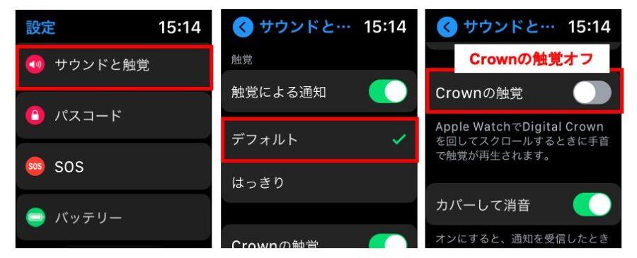 節約方法4. サウンドと触覚を調整設定するApple Watch側