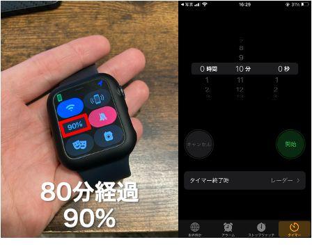 【検証】Apple Watch Series 6の満充電時間充電80分経過