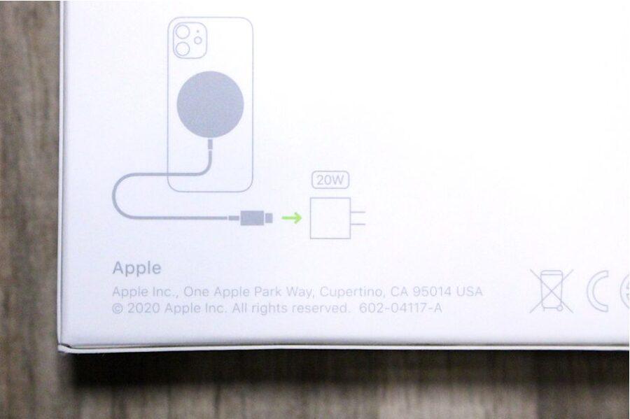 iPhone12シリーズ(無印・mini・Pro:Max)のApple MagSafe充電器外箱20Wの案内