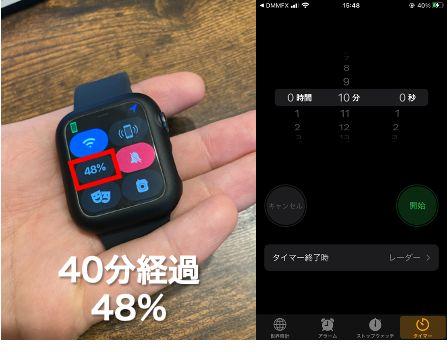 【検証】Apple Watch Series 6の満充電時間充電40分経過