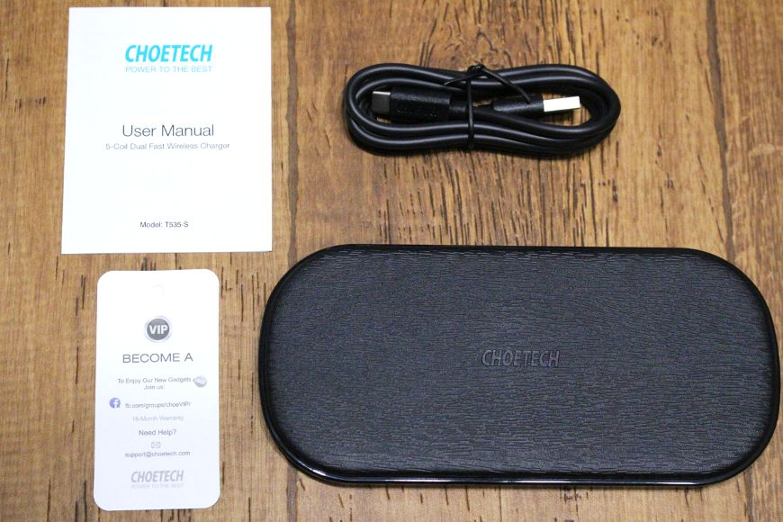 CHOTECH充電器 2台同時ワイヤレスチャージャーの内容物