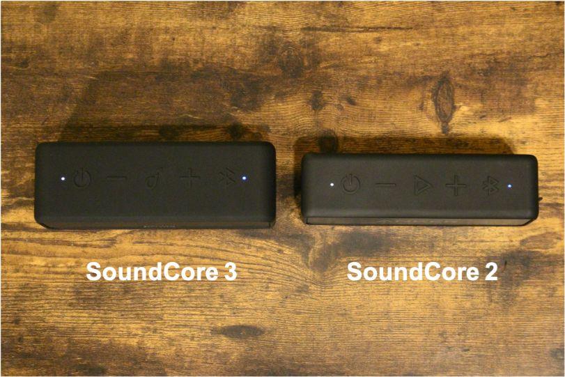 Anker SoundCore 3 VS Soundcore 2の外観比較上部から