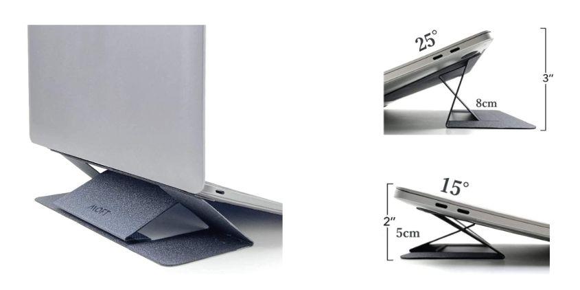 MacBook Air:Pro おすすめ『折りたたみ貼り付けコンパクトスタンド』1位MOFT2段階調整