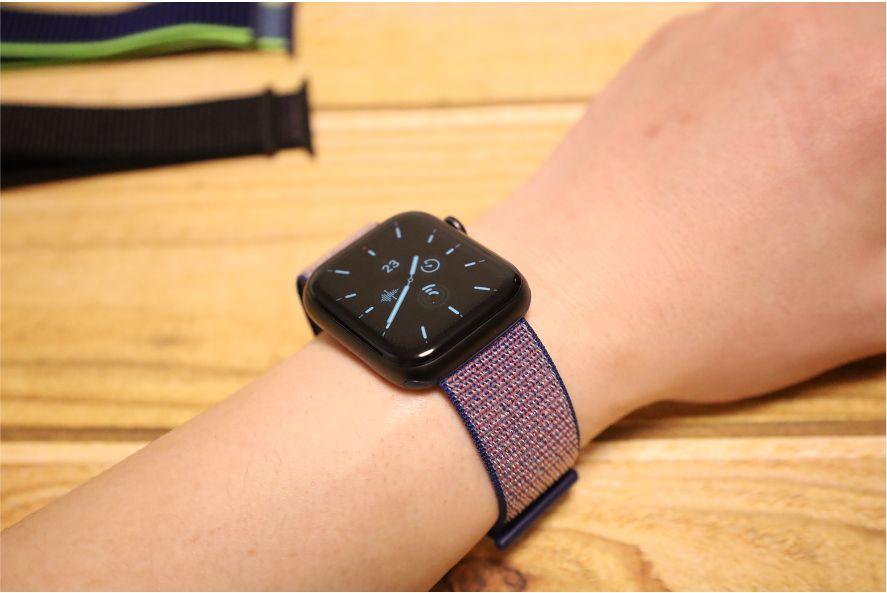 Apple WatchナイロンスポーツATUPバンドミッドナイトブルー2