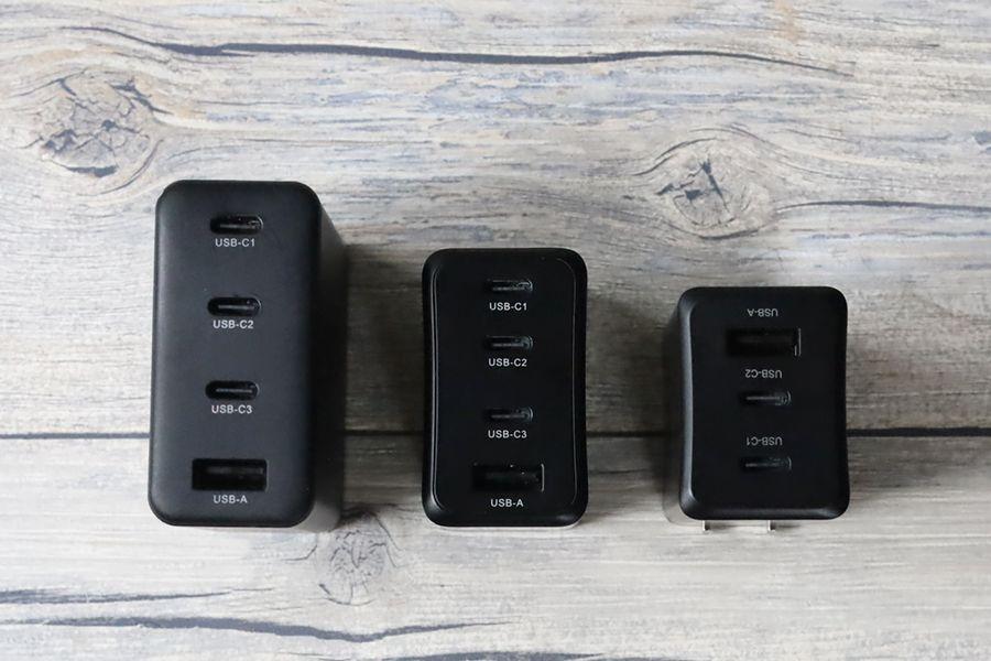 CIO LilNob USB PD 4ポート100W【G100W3C1A】のポート部分をCIOその他の充電器と比較