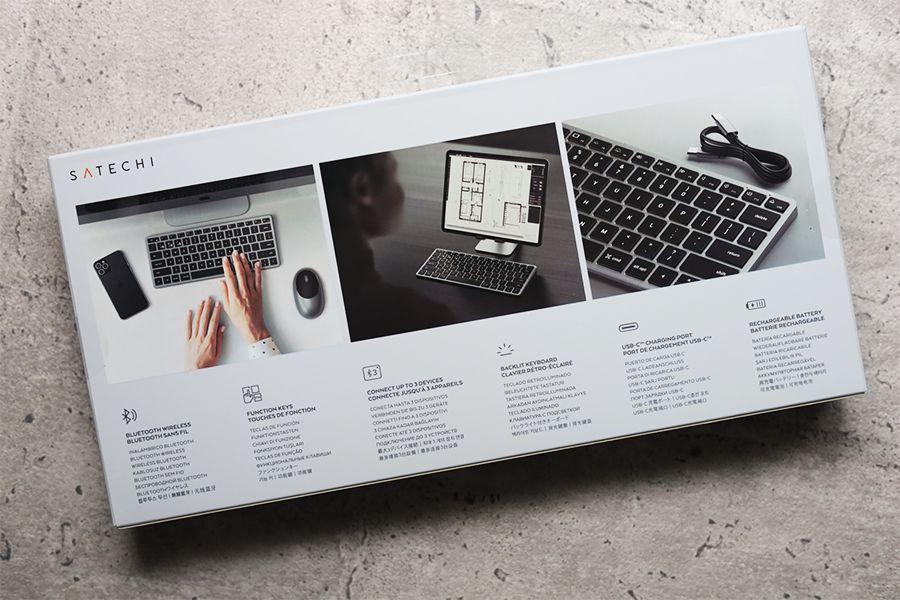 Satechi Slim X1 Bluetooth Backlit Keyboardの外箱裏面