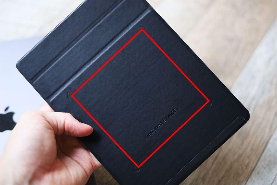 iPad用MOFT X改良型のマグネット部分は赤線内すべて
